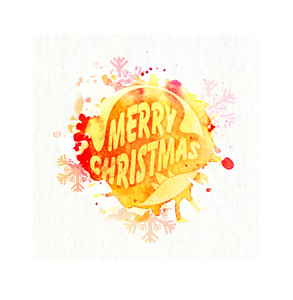 Elegant greeting card design decorated with color splash and snowflakes for Merry Christmas celebration.
