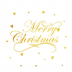 Elegant greeting card design with stylish text Merry Christmas on stars decorated white background.