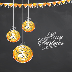 Creative hanging Xmas Balls on buntings decorated chalkboard background for Merry Christmas celebration.