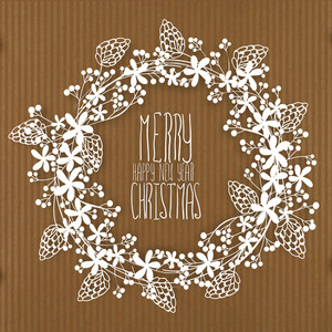 Creative frame made by beautiful flowers on brown background for Merry Christmas and Happy New Year celebration.
