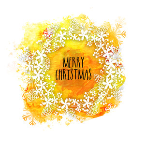 Beautiful greeting card with floral decorated frame on golden splash background for Merry Christmas celebration.