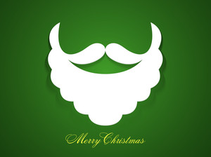 Merry Christmas celebration with creative Santa Claus beard and moustache on glossy green background.