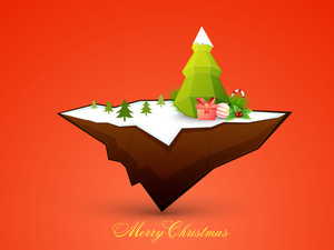 Glossy creative ornaments on floating island for Merry Christmas celebration.