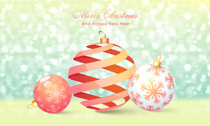 Elegant greeting card design with glossy creative Xmas Balls on shiny glitter background for Merry Christmas and Happy New Year celebrations.