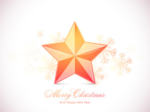 Creative glossy Star on Snowflakes decorated background for Merry Christmas and Happy New Year celebrations.