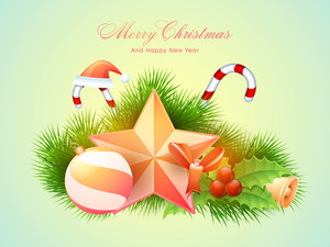Elegant greeting card design with glossy creative ornaments for Merry Christmas and Happy New Year celebrations.