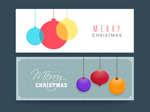 Colorful Xmas Balls decorated website header or banner set for Merry Christmas celebration.