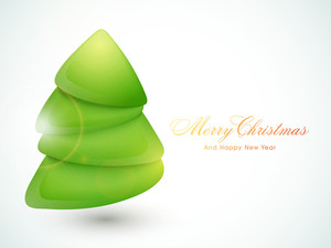 Creative glossy Xmas Tree for Merry Christmas and Happy New Year celebrations.