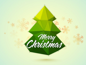 Glossy green origami Xmas Tree on Snowflakes decorated background for Merry Christmas celebration.