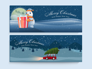 Glossy creative website header or banner set for Merry Christmas and Happy New Year celebrations.