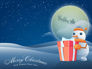 Cute Snowman holding a glossy gift with silhouette of flying Santa sleigh on winter night background for Merry Christmas and Happy New Year celebrations.