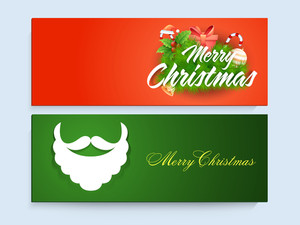 Glossy creative website header or banner set with beautiful ornaments for Merry Christmas celebration.
