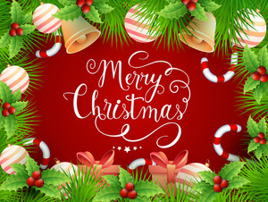 Glossy ornaments decorated elegant red greeting card design for Merry Christmas celebration.