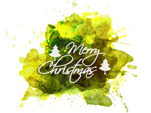 Merry Christmas celebration greeting card design with green splash