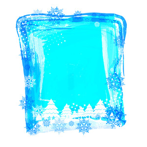 Beautiful creative blue frame decorated with Xmas Trees and snowflakes for Merry Christmas celebration.