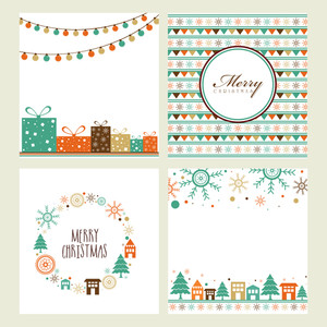 Set of creative greeting cards with different ornaments for Merry Christmas celebration.