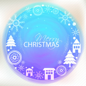 Creative greeting card design decorated with various ornaments for Merry Christmas celebration.