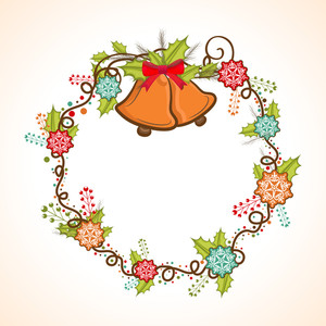 Creative frame decorated with beautiful jingle bells and colorful snowflakes for Merry Christmas celebration.
