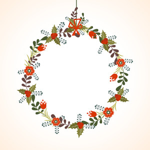 Beautiful flowers decorated blank frame on shiny background for Merry Christmas celebration.