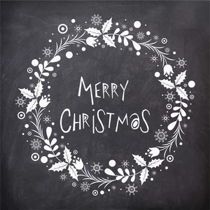 Merry Christmas celebration greeting card with beautiful floral design drawn on chalkboard background.