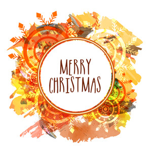 Creative greeting card decorated with colorful abstract pattern for Merry Christmas celebration.