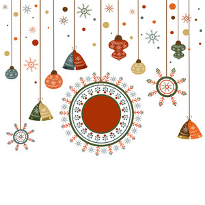 Merry Christmas celebration greeting card design decorated with hanging ornaments on white background.