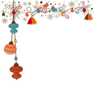 Merry Christmas celebration greeting card design with various ornaments and space for your message on white background.