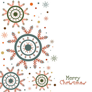 Beautiful creative snowflakes decorated greeting card design for Merry Christmas celebration.
