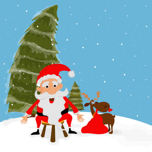 Funny Santa Claus and reindeer on Xmas Trees decorated winter background for Merry Christmas celebration.