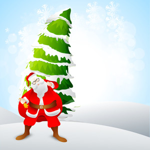 Santa Claus ringing bell and holding heavy gift sack on snow covered Xmas Tree decorated background for Merry Christmas celebration.