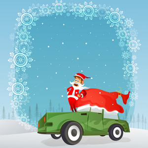 Cute Santa Claus standing on a car on beautiful snowflakes decorated winter background for Merry Christmas celebration.