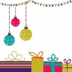 Elegant greeting card design decorated with colorful hanging Xmas Balls
