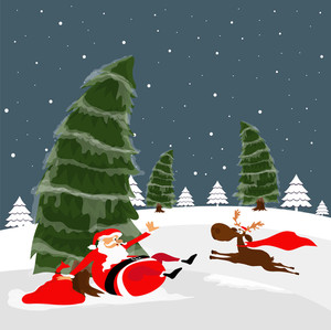 Merry Christmas celebration with illustration of funny Santa Claus and running reindeer on Xmas Trees decorated winter background.