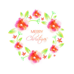 Merry Christmas celebration greeting card design with creative flowers and leaves.