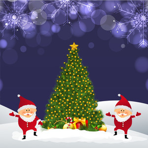 Beautiful Xmas Tree with cute Santa Claus on snowflakes decorated shiny winter background for Merry Christmas celebration.