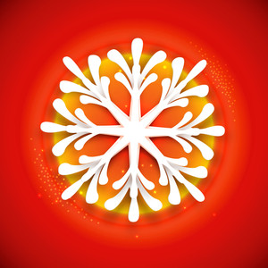 Creative glossy snowflake on shiny red and yellow background for Merry Christmas celebration.