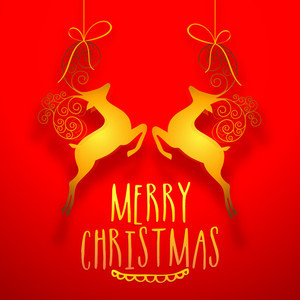 Creative golden hanging reindeers on glossy red background for Merry Christmas celebration.