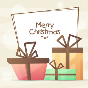 Beautiful greeting card design decorated with glossy wrapped gifts for Merry Christmas celebration.