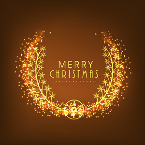 Creative greeting card design with shiny golden snowflakes on brown background for Merry Christmas celebration.
