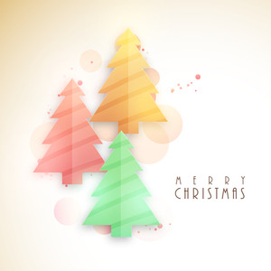 Creative colorful glossy Xmas Trees on abstract background for Merry Christmas celebration.