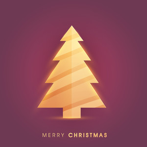 Creative glossy Xmas Tree on shiny background for Merry Christmas celebration.