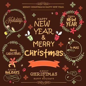 Creative typographic collection or beautiful frames for Merry Christmas and Happy New Year on brown background.