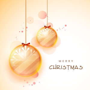 Glossy hanging Xmas Balls on shiny background for Merry Christmas celebration.