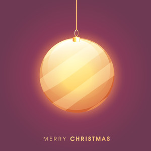 Creative glossy hanging Xmas Ball on shiny background for Merry Christmas celebration.