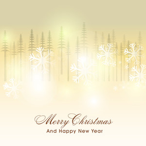 Merry Christmas and Happy New Year celebration greeting card with glossy snowflakes and fir trees on shiny background.