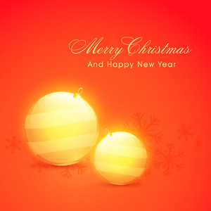 Glossy golden Xmas Balls on shiny background for Merry Christmas and Happy New Year celebration.