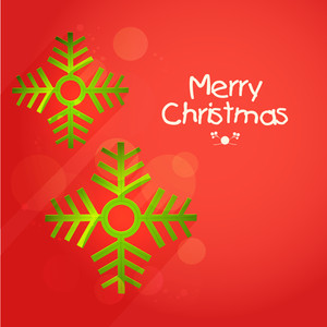 Elegant greeting card design with shiny green snowflakes on red background for Merry Christmas celebration.