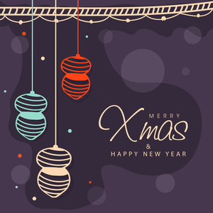 Elegant greeting card design with creative hanging Balls for Merry Christmas and Happy New Year celebration.