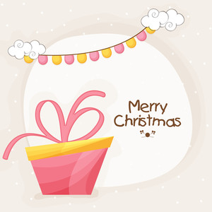 Elegant greeting card design with creative glossy gifts for Merry Christmas celebration.
