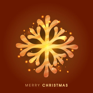 Creative glossy snowflake on brown background for Merry Christmas celebration.